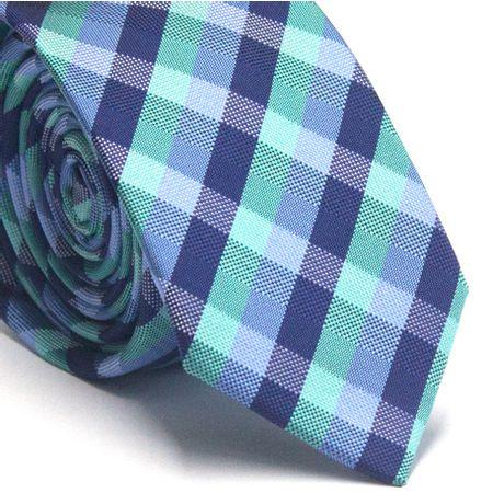 Gravata-slim-em-poliester-xadrez-tons-de-azul-verde-e-branco