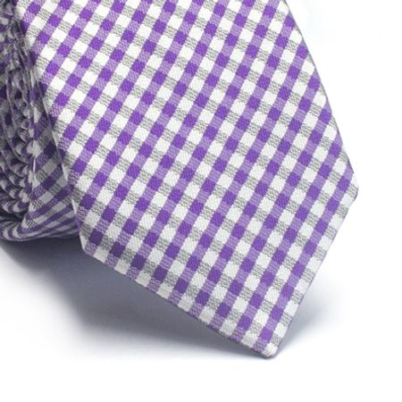 Gravata-slim-em-poliester-xadrez-roxo-cinza-e-branco