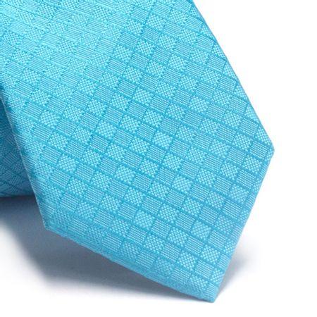 Gravata-slim-em-poliester-azul-piscina-com-quadriculado