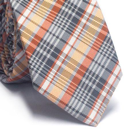 Gravata-slim-em-poliester-xadrez-tons-de-laranja-branco-e-cinza