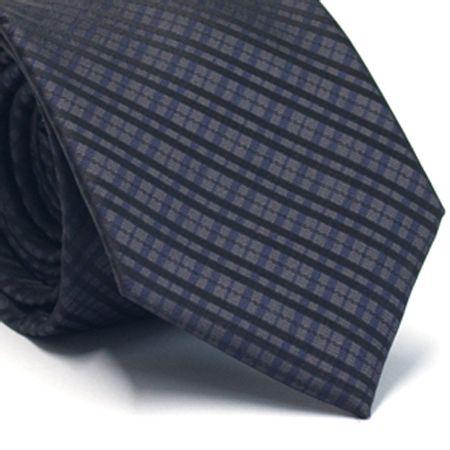 Gravata-tradicional-em-poliester-xadrez-preto-azul-marinho-cinza-chumbo