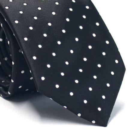Gravata tradicional em poliéster preta com poa branco