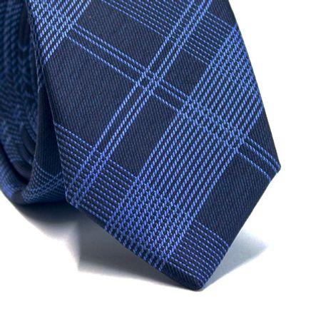 Gravata-slim-em-poliester-xadrez-azul-marinho-com-azul-royal