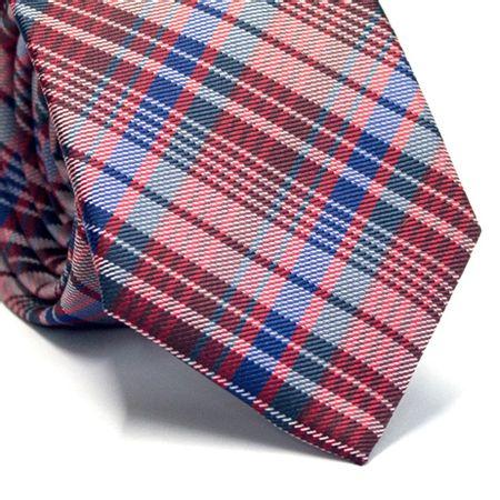 Gravata-slim-em-poliester-xadrez-vinho-vermelho-cinza-azul-e-branco