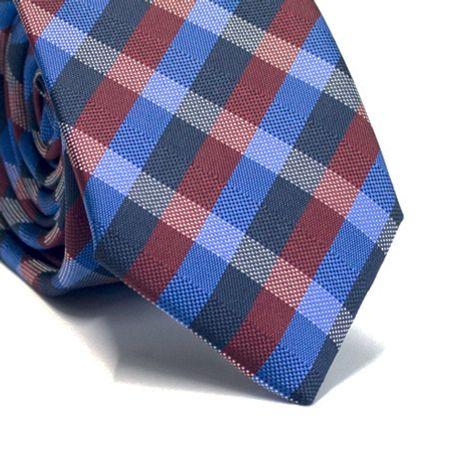 Gravata-slim-em-poliester-xadrez-vinho-branco-e-tons-de-azul