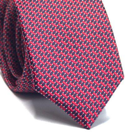 Gravata-slim-em-poliester-vermelha-com-detalhes-na-trama-em-azul-marinho-e-branco
