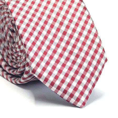 Gravata-slim-em-poliester-xadrez-vermelha-cinza-e-branco