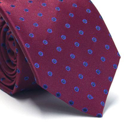 Gravata-tradicional-em-poliester-vinho-com-desenhos-geometricos-em-preto-e-azul