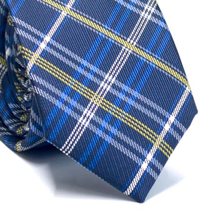 Gravata-slim-em-poliester-xadrez-azul-marinho-amarelo-branco-e-azul-royal