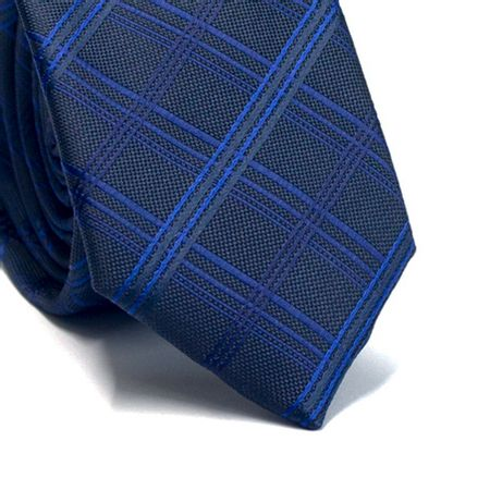 Gravata-slim-em-poliester-xadrez-preta-e-tons-de-azul