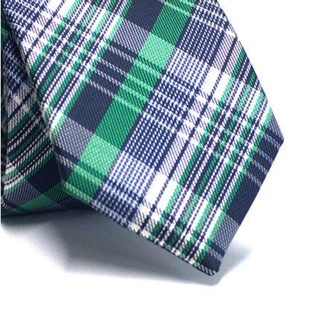 Gravata-slim-em-poliester-xadrez-verde-e-azul-marinho-com-detalhes-em-branco