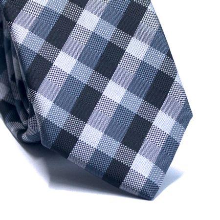 Gravata-slim-em-poliester-xadrez-tons-de-cinza-preto-e-branco