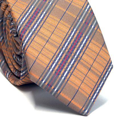 Gravata-slim-em-poliester-xadrez-laranja-vermelho-cinza-azul-marinho-e-branco