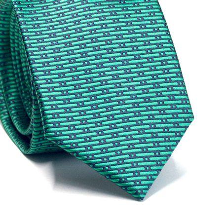 Gravata-slim-em-poliester-verde-com-detalhes-na-trama-em-preto