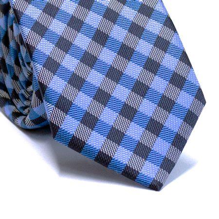 Gravata-slim-em-poliester-xadrez-tons-de-azul-e-branco