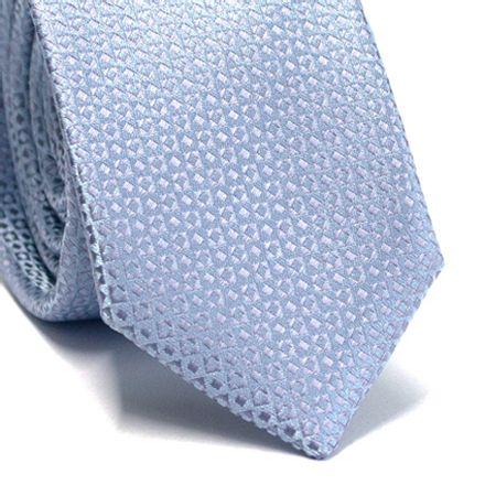 Gravata-slim-em-poliester-azul-claro-com-desenhos-geometricos-em-cinza