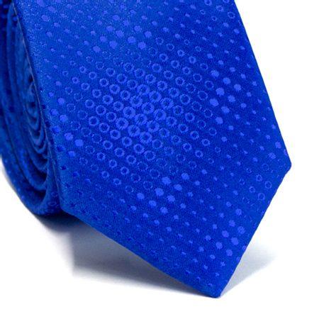 Gravata-slim-em-poliester-azul-royal-com-desenhos-geometricos-na-trama