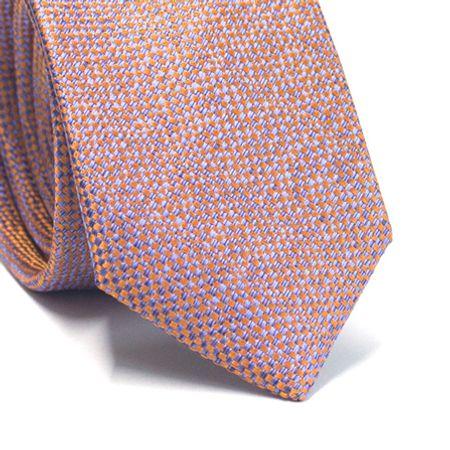 Gravata-slim-em-poliester-furta-cor-laranja-com-azul