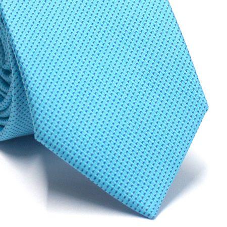 Gravata-Slim-em-Poliester-Azul-Tiffany-com-Detalhes-em-Preto
