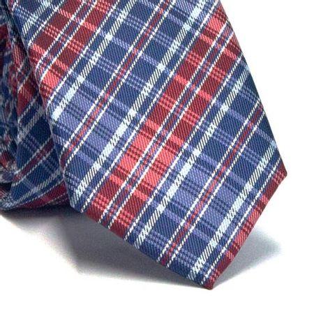 Gravata-Slim-em-Poliester-Xadrez-Azul-e-Vermelho-com--Detalhes-em-Branco-e-Azul