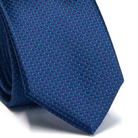 Gravata-Slim-em-Poliester-Azul-Marinho-com-Detalhes-em-Verde