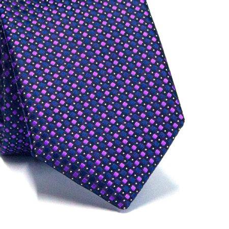 Gravata-Slim-em-Poliester-Quadriculada-Roxa-e-Azul-Marinho-com-Detalhes-Preto-e-Branco