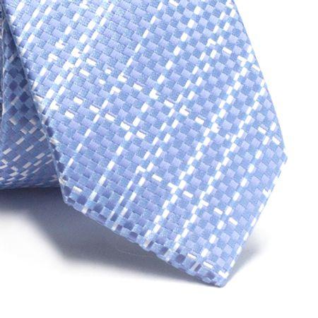 Gravata-slim-em-poliester-quadriculado-azul-serenity-com-detalhes-em-branco
