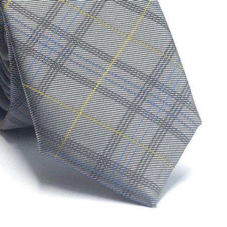 Gravata-slim-em-poliester-cinza-com-detalhes-em-azul-e-amarelo