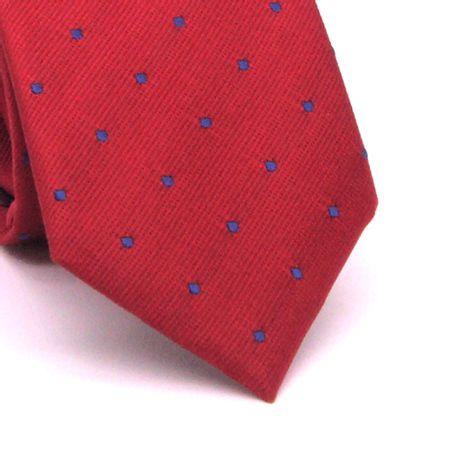 Gravata-slim-com-desenho-geometrico-em-seda-pura-vermelha