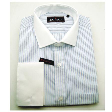 Camisa regular fio 80 azul claro manga longa 100% algodão TAM 2