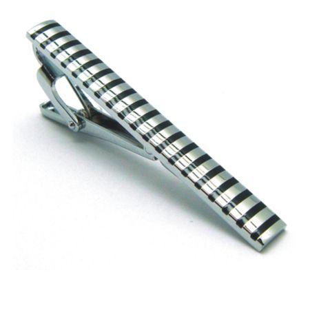 Prendedor-de-gravata-retangular-prata-com-listras-em-preto