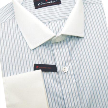 Camisa regular  fio 80 azul claro manga longa 100% algodão