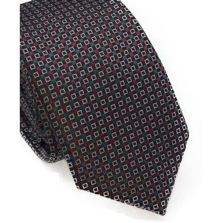 Gravata-slim-cinza-com-desenhos-geometricos-em-vermelho