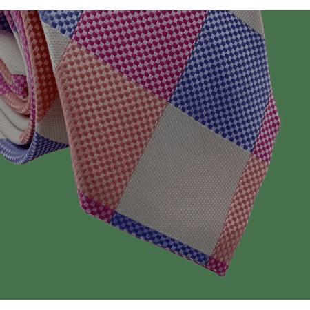 Gravata-Slim-Poliester-Xadrez-pink-e-lilas