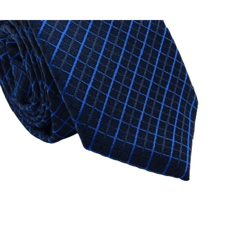 Gravata-Slim-em-Poliester-preto-com-detalhes-azul-royal-na-trama