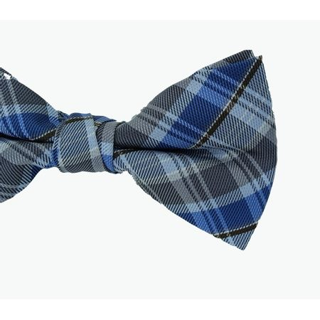 Gravata-Borboleta-Em-Poliester-Xadrez-Azul-Marinho-Marrom-E-Cinza
